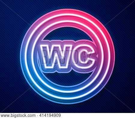 Glowing Neon Line Toilet Icon Isolated On Blue Background. Wc Sign. Washroom. Vector