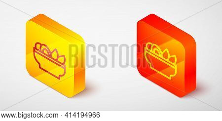 Isometric Line Nachos In Plate Icon Isolated On Grey Background. Tortilla Chips Or Nachos Tortillas.