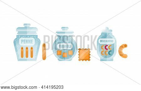 Glass Jar Filled With Dry Macaroni Product With Penne And Ravioli Vector Set