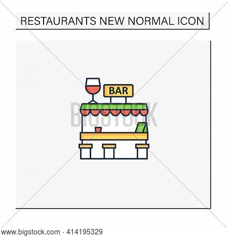 Outdoor Bar Color Icon. Outdoor Dining Space. Forced Distance.regulation Through Covid19. Restaurant