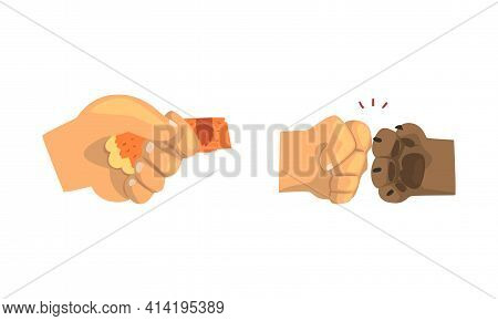 Animal Paw And Human Hand Gesturing Shaking Hands And Bumping Fists Vector Set