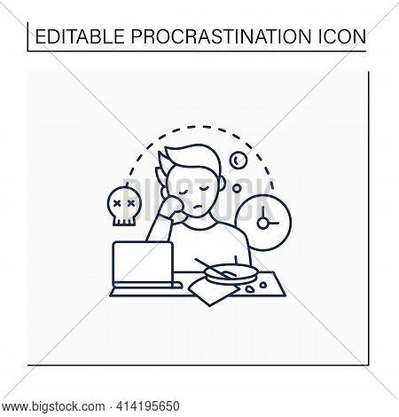 Laziness Line Icon.postpone Unpleasant Tasks For Later.delay. Lazy Person. Procrastination Concept.