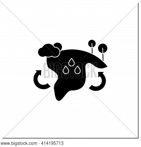 Biome Glyph Icon. Collection Of Plants And Animals That Have Common Characteristics For The Environm