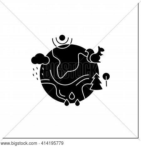 Ecosystem Glyph Icon. Living Community Of Organisms. Consist Of Different Zones Like Tundra, Grassla