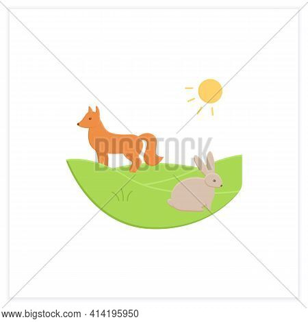 Grasslands Flat Icon. Fox And Rabbit Live In Grasslands. Hunting. Generally Located Between Deserts