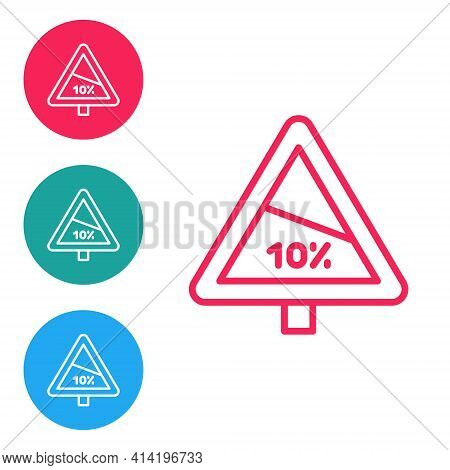 Red Line Steep Ascent And Steep Descent Warning Road Icon Isolated On White Background. Traffic Rule