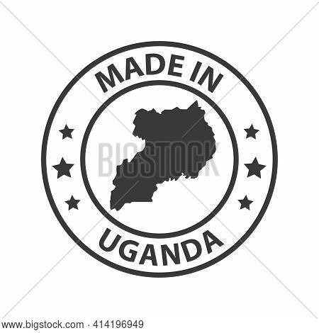 Made In Uganda Icon. Stamp Made In With Country Map