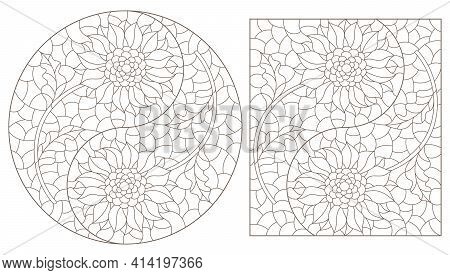 Set Of Contour Illustrations In Stained Glass Style With Sunflowers In The Yin Yang Sign, Dark Conto