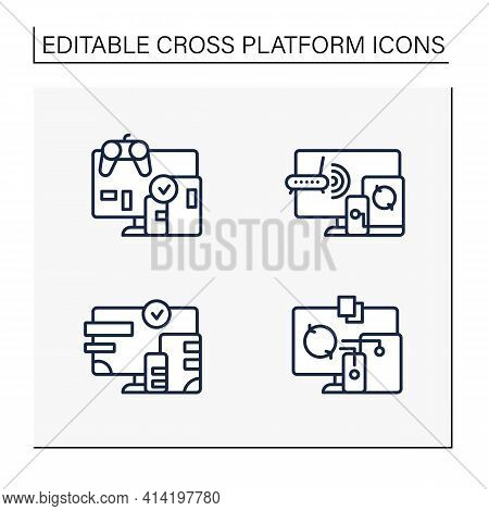 Cross Platform Line Icons Set. Programming Environment. Playing, Multiplayer, Design, Files Syncing.