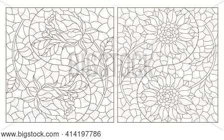 Set Of Contour Illustrations In Stained Glass Style With Roses And Sunflowers In The Yin Yang Sign,