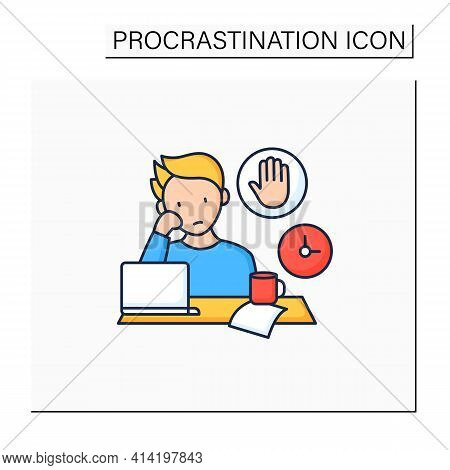 Stop Procrastinating Color Icon.ready To Work. Minimize Distractions. Commit Tasks.procrastination C