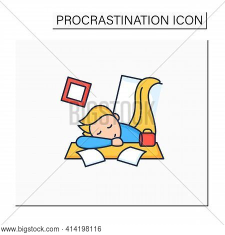 Mess Color Icon. Chaos In House. Laziness. Person Sleep On Desk. Procrastination Concept. Isolated V