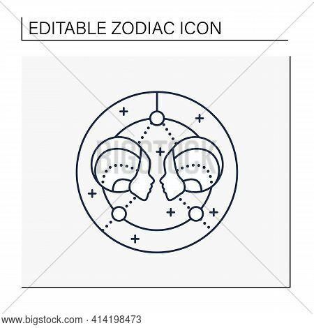 Gemini Line Icon. Third Fire Sign In Zodiac. Horoscope Twins. Mystic Horoscope Sign. Astrological Sc