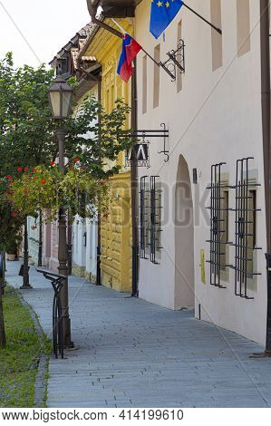 Ancient Town Spisska Sobota With Historic Medieval Architecture, Colorful Houses. Poprad City, Slova