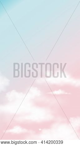 Sky In Pink And Blue Pastel Colour,vector Illustration Sky With White Fluffy Clouds, Vertical Banner