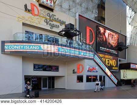 LAS VEGAS - DECEMBER 7, 2017: The D Las Vegas Casino Hotel. The D is a 34-story, 638-room hotel and casino in Downtown Las Vegas, Nevada, in the  Fremont Street Experience.