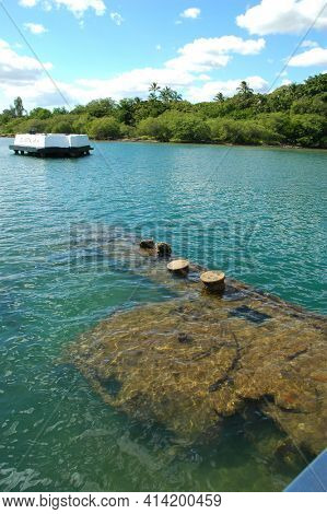 PEARL HARBOR, OAHU - 23 NOV 2010: Submerged ship section at the USS Arizona Memorial.
