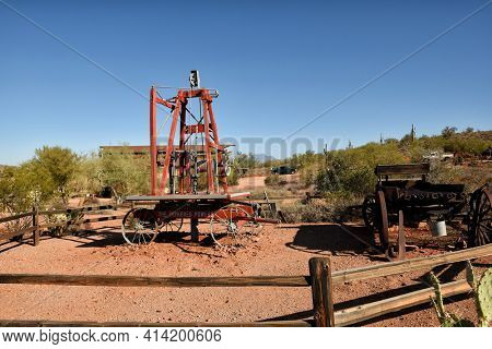 APACHE JUNCTION, ARIZONA - 8 DEC 2016: Mining equipment at the Superstition Mountain Museum in Apache Junction, Arizona.