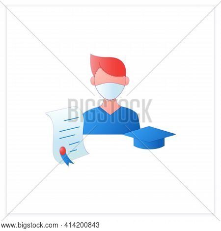 Undergraduate Student Flat Icon. Personal Growth. Education Process. Bachelor Degree. Person Studyin