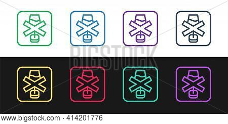 Set Line No Alcohol Icon Isolated On Black And White Background. Prohibiting Alcohol Beverages. Forb