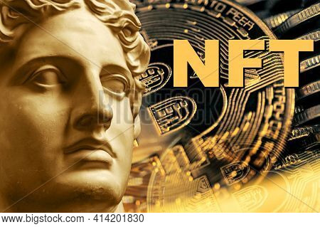 Nft Non Fungible Token. Crypto Art Concept. Technology Selling Unique Collectibles, Games Characters