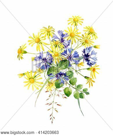 Watercolor Bouquet Of Cornflowers And Yellow Flowers