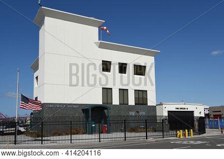 LONG BEACH, CALIFORNIA - 20 MAR 2021: Fire Station 15 in the Port of Long Beach.