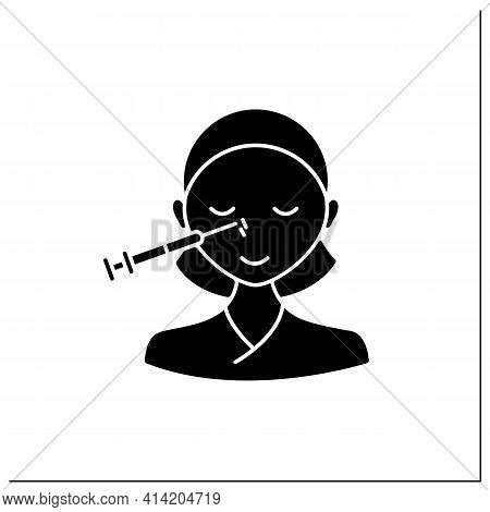 Cosmetic Injection Glyph Icon.woman Doing Injection Into Nose. Nose Lifting.rejuvenation. Full Syrin