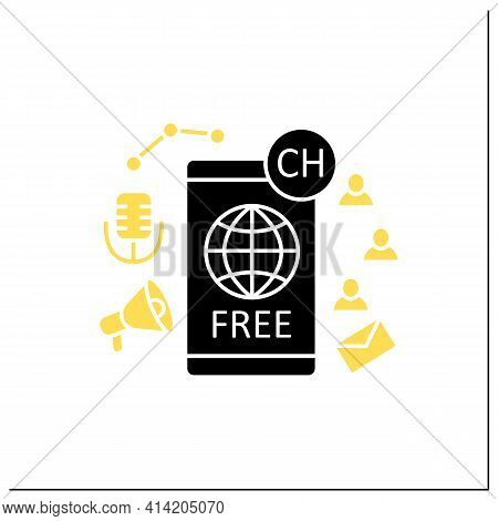 Free Application Glyph Icon. Chatting For Everyone. Public App. Global Social Media. Communication C