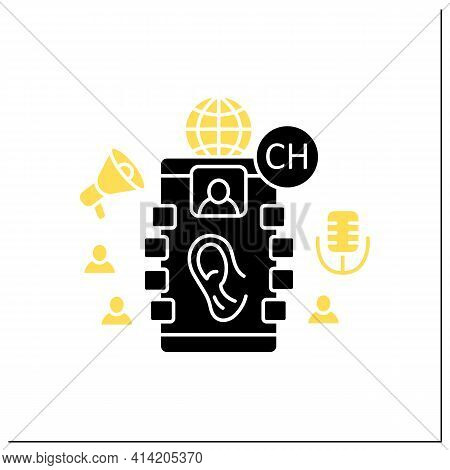 Listeners Glyph Icon. Listening Lecture. Hearing Voice Messages. Abstract Communication Room With Fr