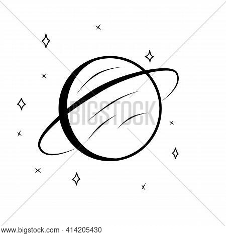 Black And White Version Of Planet Saturn With Planetary Ring System Flat Icon And Stars Illustration