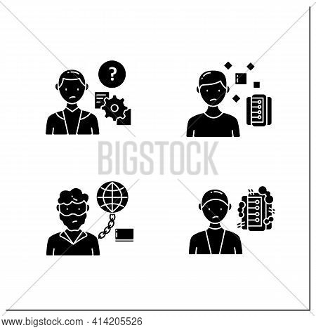Information Overload Glyph Icons Set. Consists Of Information Pollution, Internet Addition, Unproces