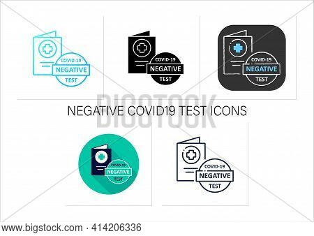 Negative Covid19 Test Icons Set. Note In Health Passport About Coronavirus Testing. Negative Results