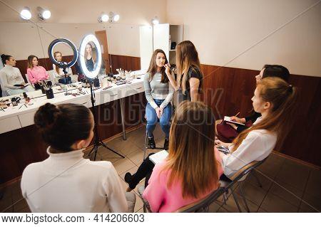 Professional Makeup Teacher Training Her Student Girl To Become Makeup Artist. Makeup Tutorial Lesso