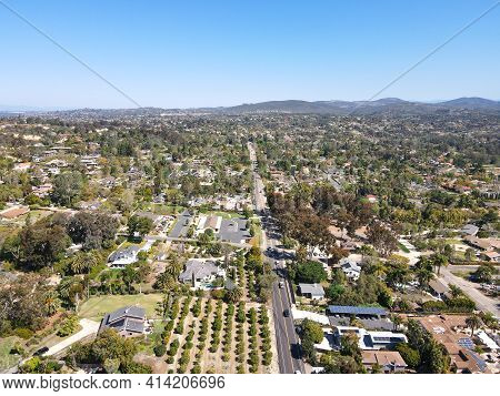 Aerial View Of Rancho Santa Fe Neighborhood With Big Mansions With Pool In San Diego, California, Us