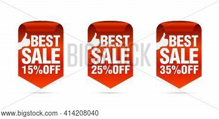 Red Best Sale Badges Set. Best Choice. Sale 15%, 25%, 35% Off. Vector Illustration