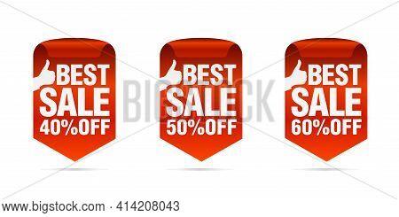 Red Best Sale Badges Set. Best Choice. Sale 40%, 50%, 60% Off. Vector Illustration