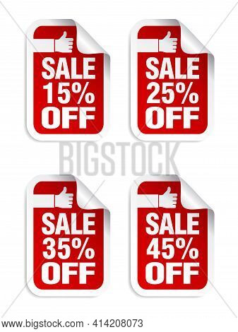 Red Sale Stickers Set. Best Choice. Sale 15%, 25%, 35%, 45% Off. Vector Illustration