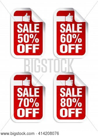 Red Sale Stickers Set. Best Choice. Sale 50%, 60%, 70%, 80% Off. Vector Illustration