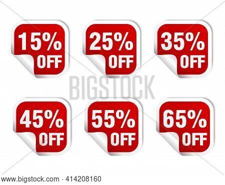 Sale Red Sticker Icon Set. Sale 15%, 25%, 35%, 45%, 55%, 65% Off. Vector Illustration
