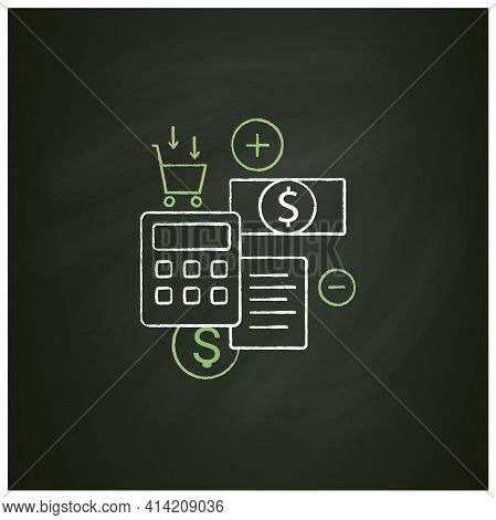 Budgeting Chalk Icon.creating Plan To Spend Money.rational Money Distribution.cash Counting.thoughtf