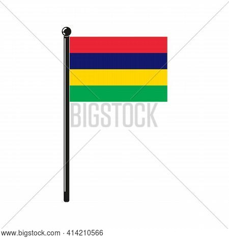 National Flag Of Mauritius In The Original Colours And On The Stick