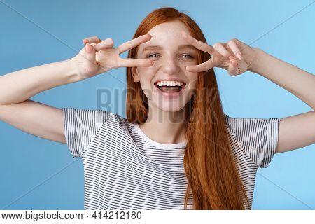 Happy Cheerful Carefree Caucasian Redhead Girl Ginger Long Hair Having Fun Express Happiness Joy Fri