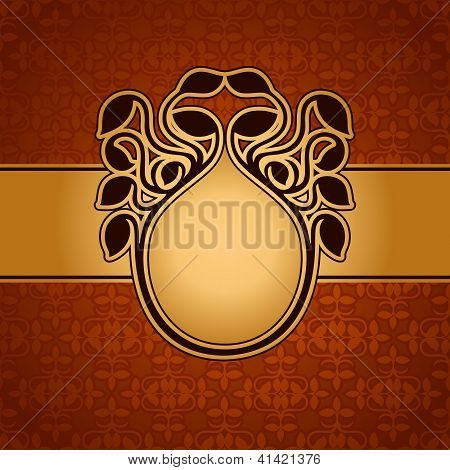 Abstract Leaf Background, Exclusive, Creative Ornament, Ornate, Baroque, Luxury, Vintage frame