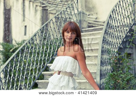 Beautiful Woman Near Old Palace