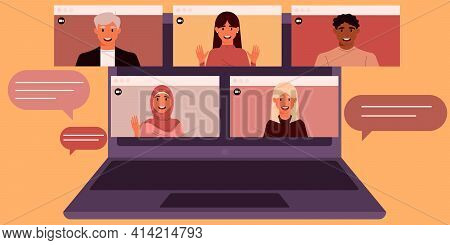 Men And Women Of Different Ethnic Groups On The Laptop Screen. Video Conference, Remote Work, Live B