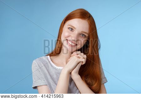 Romantic Tender Lovely Redhead Girlfriend Tilting Head Press Palms Together Smiling Touched Look Sym