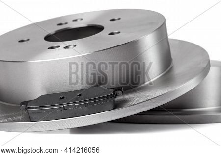 Set Of Brake Pads And Rotor Brake Disc New Car Spare Parts Brake Shoes For A Vehicle Close Up Isolat