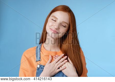 Dreamy Touched Romantic Ginger Girlfriend Close Eyes Recalling Heartwarming Romance Touch Heart Palm