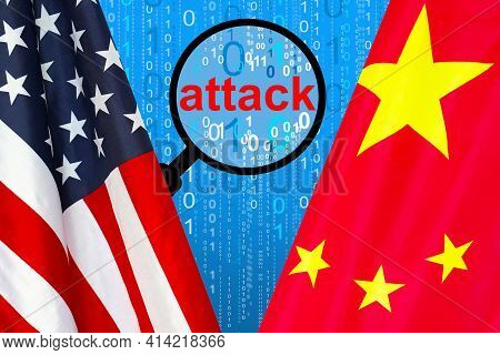 Flag Of Usa And China Flag Against The Background Of A Binary Code With Magnifying Glass. Chinese Ha